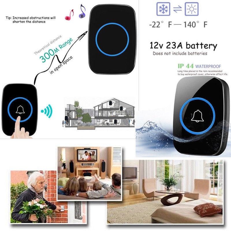 лучшая цена EU/UK/US Plug 300M Waterproof LED Wireless Doorbell 38 Songs Chime Bells 77 WWO66