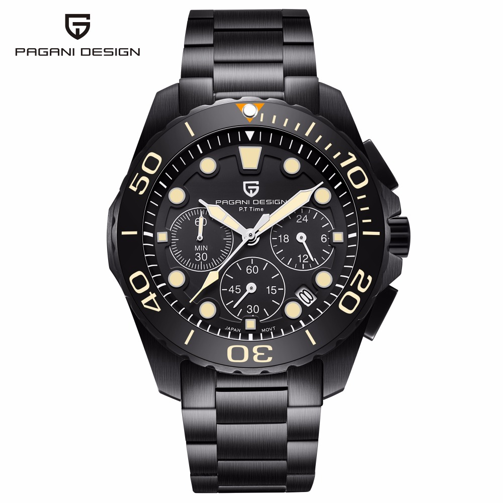 PAGANI DESIGN 2018 Top Brand Luxury Quartz Watch Men Stainless Steel Waterproof Wristwatch Chronograph Sport Watches