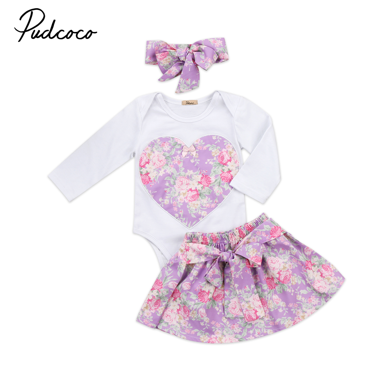 Baby Girls 3pcs Floral Skirt Clothing Set Babies Heart Floral clothes  long sleeve Bodysuit+Bow Skirts+headband Outfits Fille