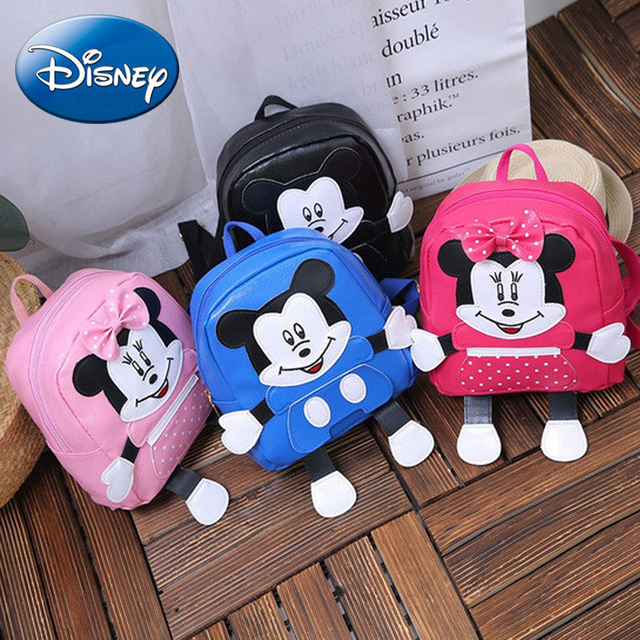 7e52e4523cd0 2018 New Mickey Mouse Backpack Minnie Girls Children School Bag Cute Boy  Kids Backpacks Pu Skin Cartoon Kindergarten Book Bags
