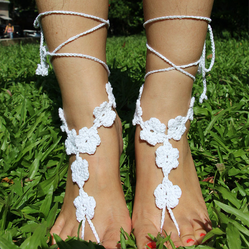 8SEASONS Cotton Crochet Foot Anklets Foot Jewelry Accessories Beach Anklet Wedding Barefoot Sandles 138cm(54 3/8) Long, 1 PC