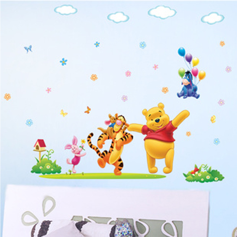 The new sticker winnie the pooh children room bedroom wall decals DLX131L baby cartoon can remove wall stickers