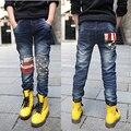 Новый 2016 весной и осенью детские джинсы дикий мальчик большой девственный Корейский звезды джинсы брюки дети мальчик джинсы