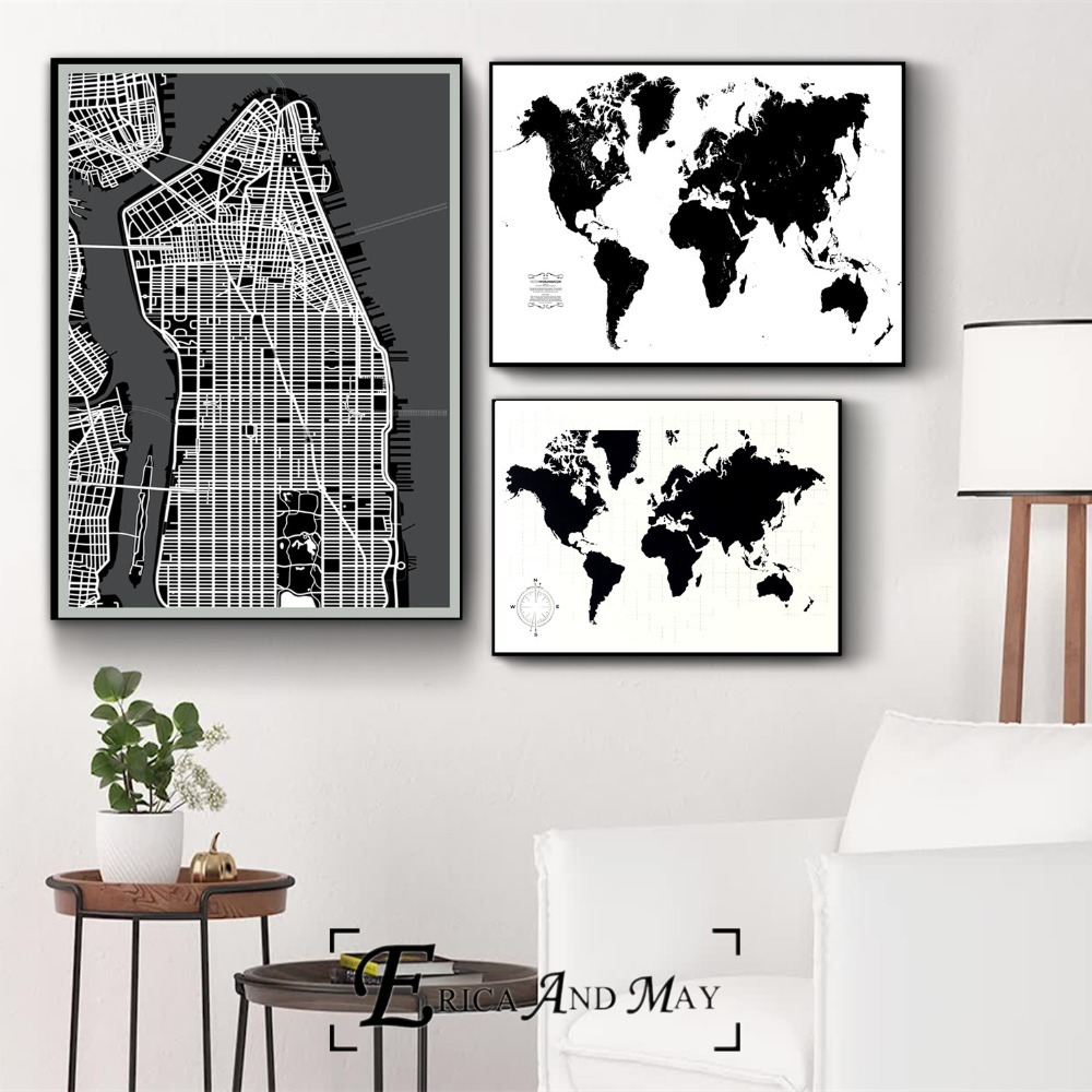 World Map Black and White Artwork Canvas Prints Modern Painting Posters Wall Art Pictures For Living Room Decoration No Frame in Painting Calligraphy from Home Garden