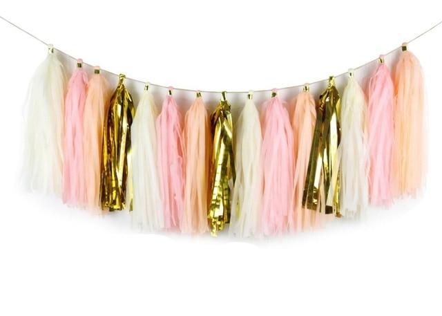 Diy Kamer Decoratie : Diy tissue tassel garland kit perzik ivoor blush goud papier kamer