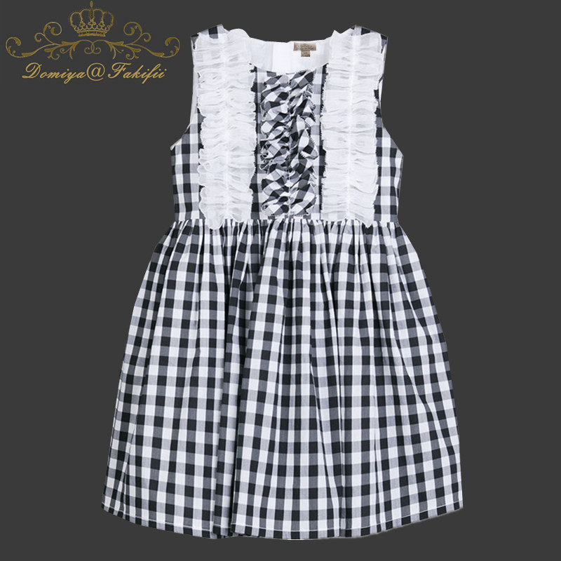 Girls Summer Dress Clothes Robe Fille Enfant 2018 Brand 100% Cotton Kids Costumes Plaid Checker Princess Birthday Dress Children kids dresses for girls costumes 2017 brand girls summer dress ice cream print robe fille enfant princess dress children clothing