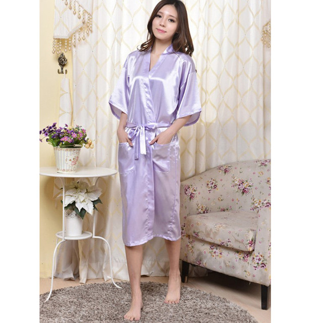7 Cores Sexy Mulheres Sleepwear Robe de Verão Casual Nightgowns nightdress Roupão de Cetim de Seda das Mulheres plus size XXXL NR046
