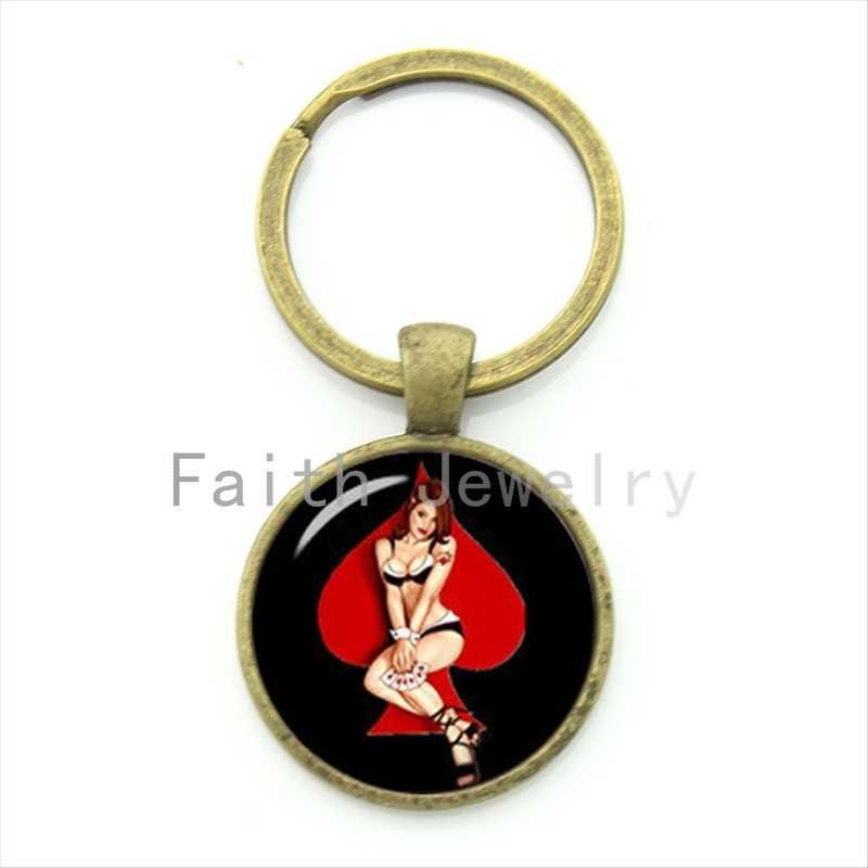 Alla moda di Fascino rosso pesca cuori nude donne catena chiave bionda ragazza in nero lingerie portachiavi vintage 1940s Spille- up poker KC647-648