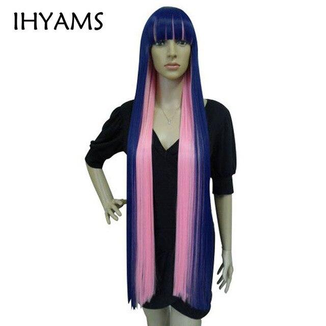 120 см длинные прямые синий микс розовый плоские удары высокое Температура волокна синтетические волосы трусики чулок Косплэй парики + парик кепки