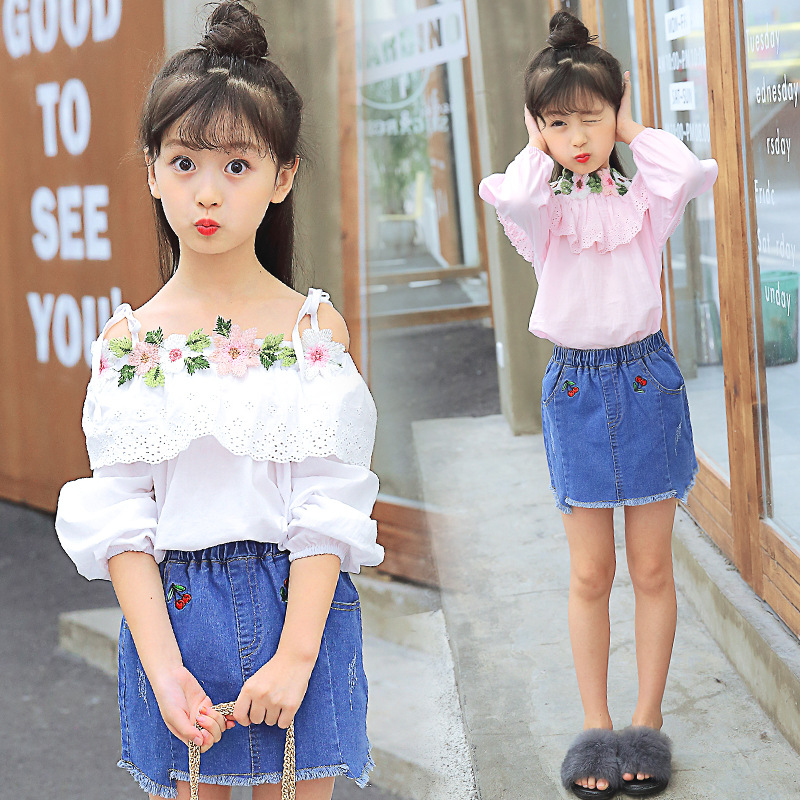 Toddler Girls Spring Clothing Sets Outerwear Suit For Teenage Girls Clothes Outfits Kids White Lace Blouses Shirts + Denim Skirt spring outfits for kids