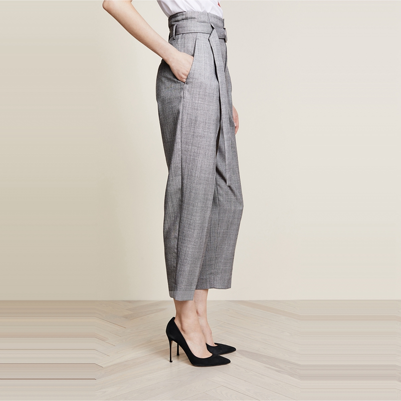 Gray High Waist Metal Ring Bandage Pants 3