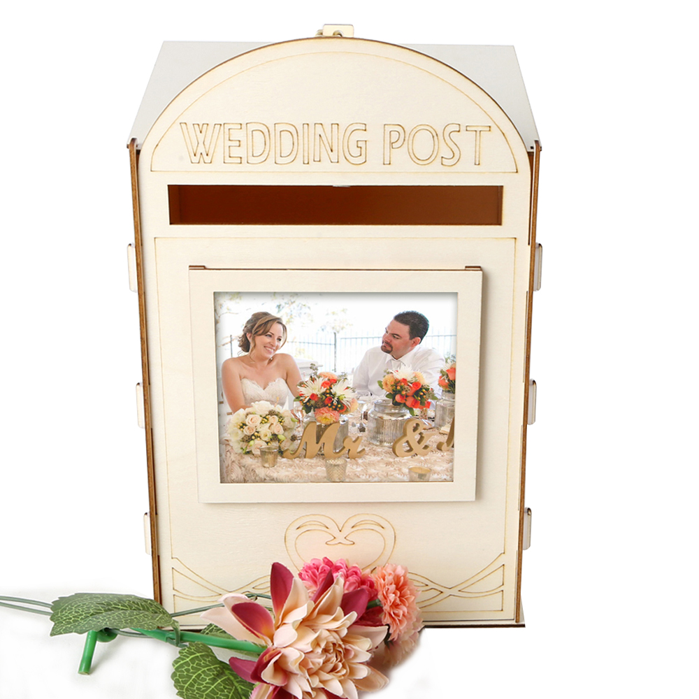 Wedding Decoration Romantic Bird Lovers Wooden Mailbox With A Key(China)