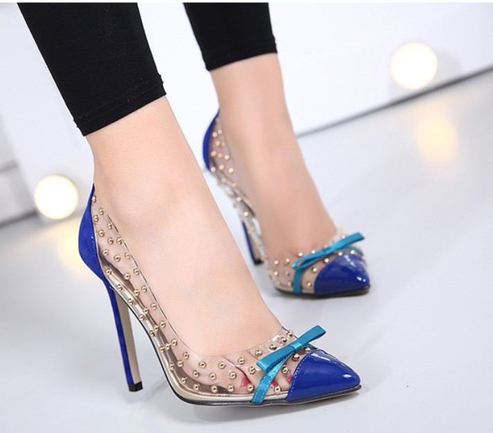 Women Transparent Clear Rivet Bow High heel Stiletto Shoes