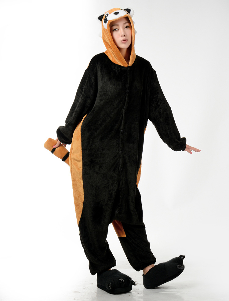 winter Long sleeves Racoon costume onesie Pajamas Cartoon Animal cosplay Pyjamas Adult Onesie party Halloween pijamas costume