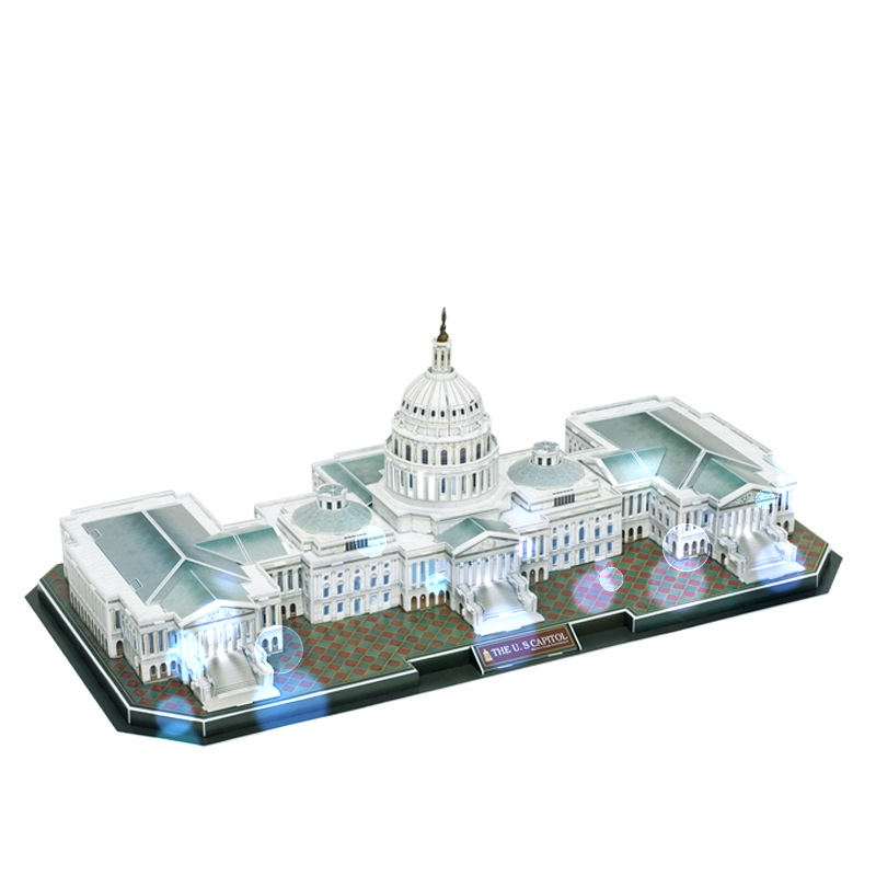 Classique Puzzle Architecture commande Vocale LED Capitol Construction Brique Jouets Échelle Modèles Ensembles Papier De Construction