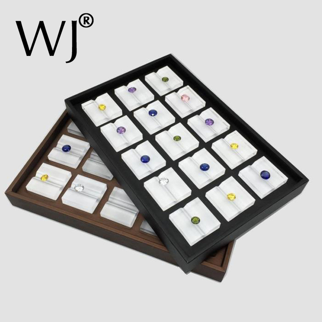 Loose Diamond Display Tray Gemstone Holder Stand Case PU Leather