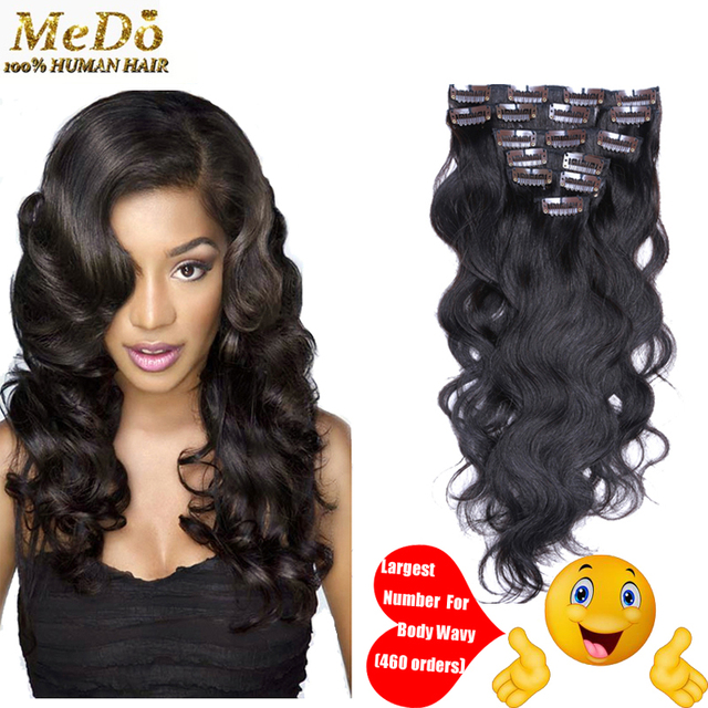Hot Sale Malaysian Virgin Hair Clip In Hair Extensions Body Wave 100