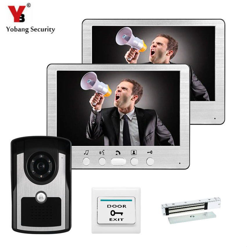 YobangSecurity Wired 7Inch Video Door Phone Doorbell Intercom Entry System 2 Monitor 1 Camera With Electric Magnetic Door Lock yobangsecurity wifi wireless video door phone doorbell camera system kit video door intercom with 7 inch monitor android ios app