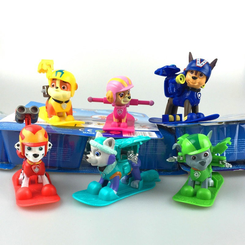 Hot children's cartoon drama Dog rescue 6 different styles Deformable snowboarder to do a model toy a key deformation dog