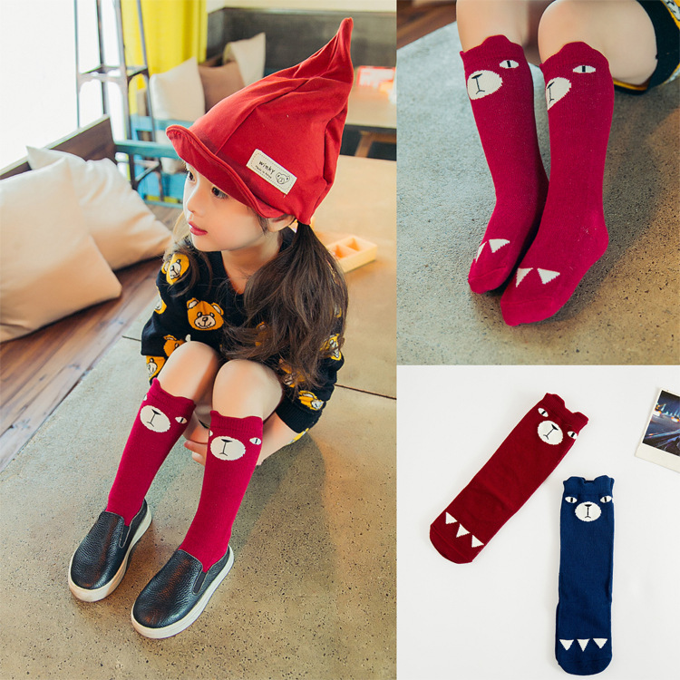 2016 fashion children cotton socks kids 3D bear leg warmers knee high socks for girls for children Christmas gift