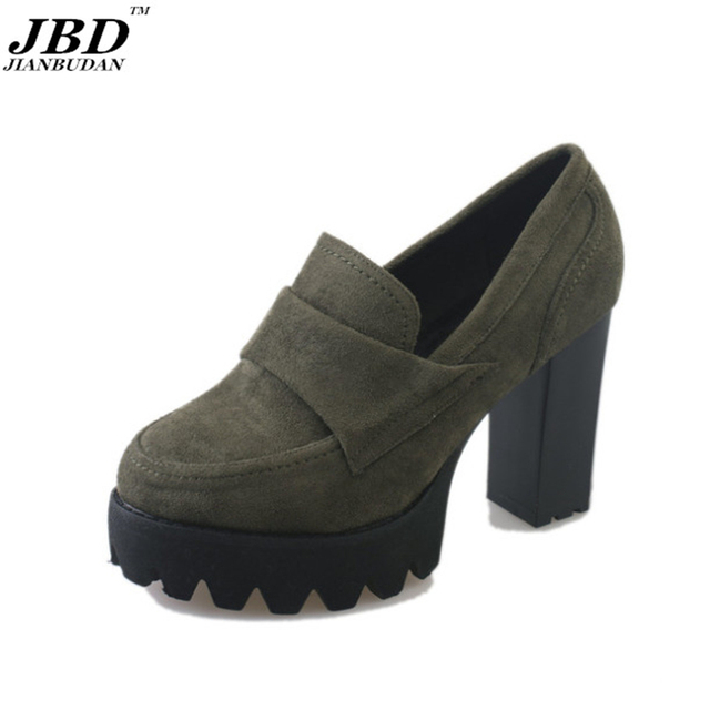 2017 new fashion female high heels casual breathable thick with single shoes brand shoes retro style