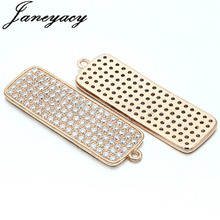Fashion Brass Cubic Rectangle Pendant Accessories Trend Zircon DIY Earrings Necklace Production Connector Accesorios
