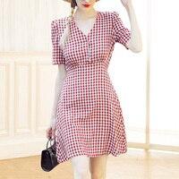 Видеть оранжевый красный, белый плед Винтаж платье 2018 Chic Стиль женское платье с глубоким v образным вырезом летнее платье SO7890