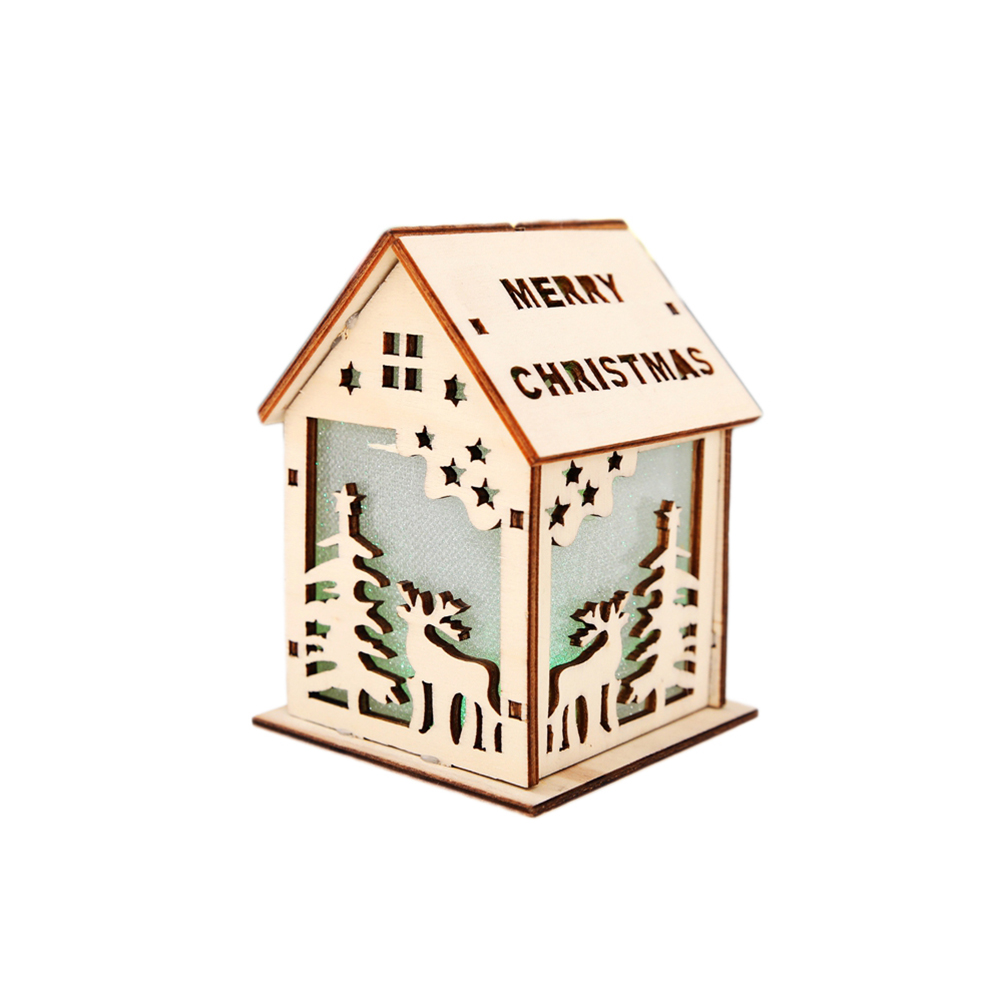 1pc Lighted Christmas Tree Pendant Room Model Wooden Cabin House Decor for New Year Xmas Christmas Decoration
