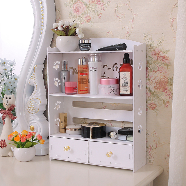 DIY Korea Drawer Cosmetics Storage Box Makeup Organizer Large Creative Desktop Bathroom Waterproof Rack Dresser