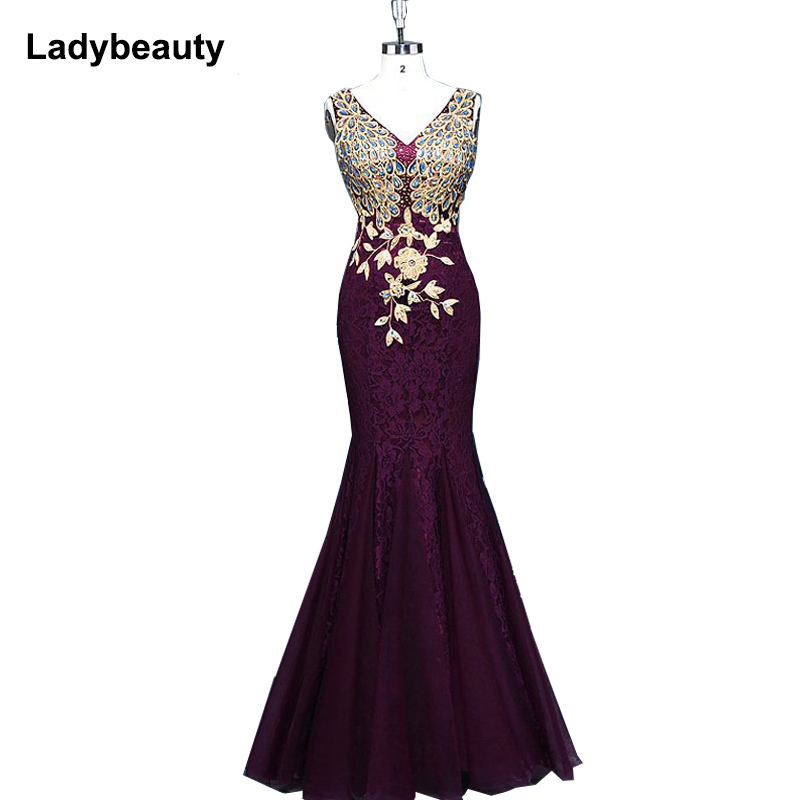 2018 New Design   Evening     Dresses   Royal Blue Appliques   Dresses   See-through Back Prom Party   Dress   Vestidos De festa Free Shipping
