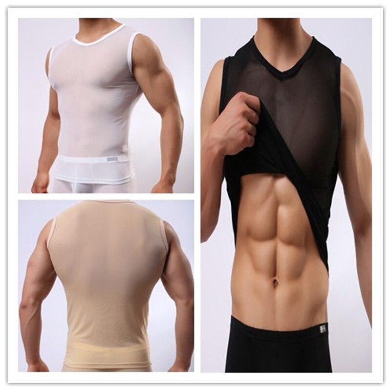2017 Letní Mesh Sexy muž bez rukávů v-neck Pánské Tank Tops Jersey Transparentní Kulturistika Fitness Male Sex Spodní prádlo  t