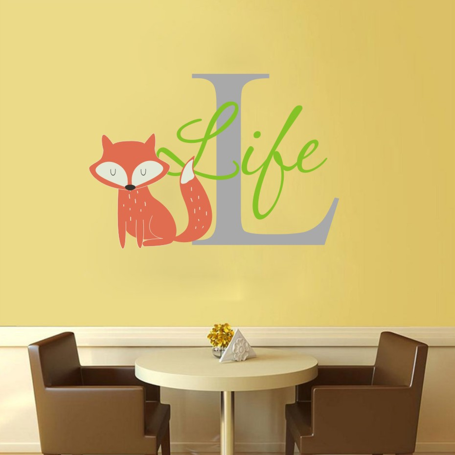 Cartoon Animals Fox Life Color Wall Sticker For Kids Rooms ...