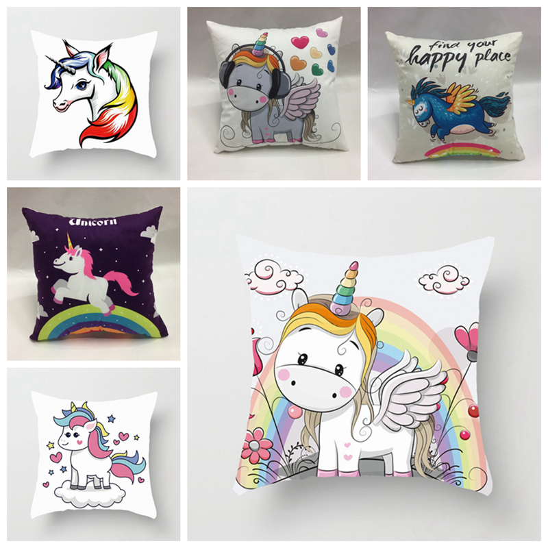 Cute fairy tales Unicorn style pillow covers (40cm*40cm) Super soft home hotel bedding decorative throw pillowcase