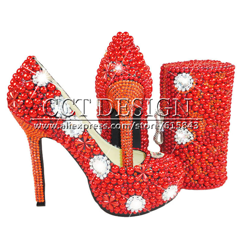 New Red Wedding Shoes With Pearls Handmade Sparkly Diamond High Heels Platfrom Party Evening Shoes Italian Shoes And Bag Set something red wedding shoes customized sparkly diamond red high heels platfrom party evening shoes italian shoes and bag set