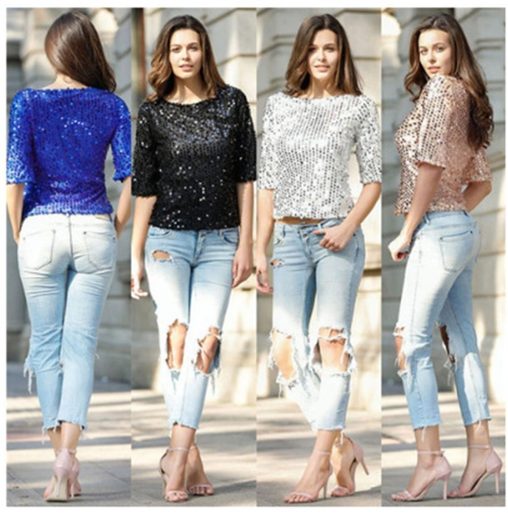 Summer sexy sequined  loose T-shirt casual nightclub colorful printed T-shirt