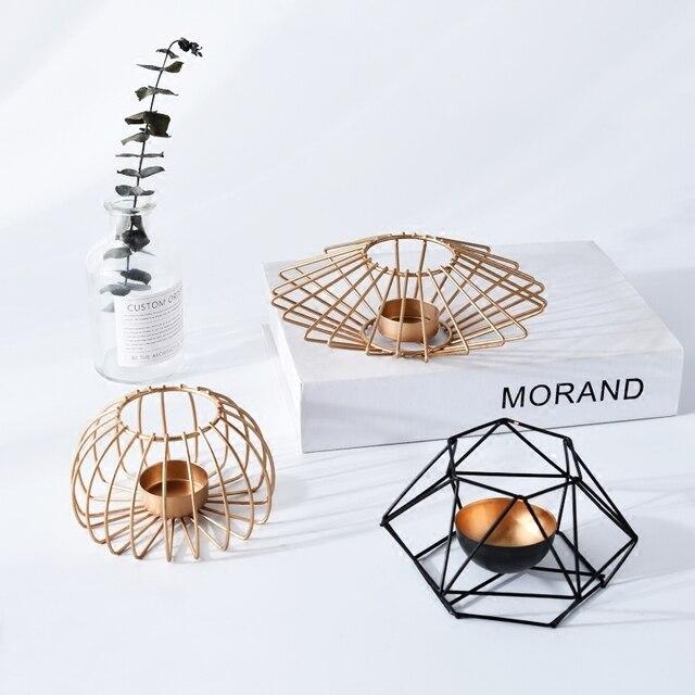 Phong Cách Bắc Âu 3D đèn Sắt hình học Chân Nến Chân nến trang trí trang trí nhà quà tặng sinh nhật