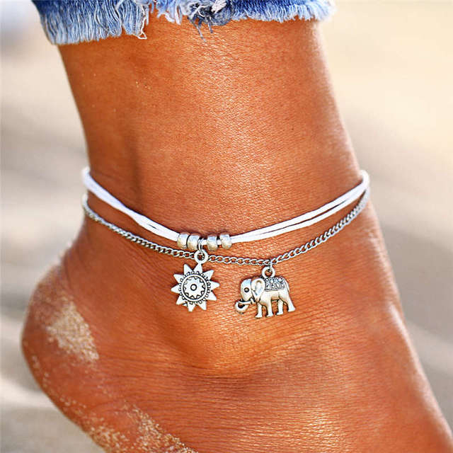 Vintage Ankle Bracelets Two Layers Elephant Charm For Women Summer Fashion Anklet Enkelbandje Halhal Bracelet On The Leg Chain