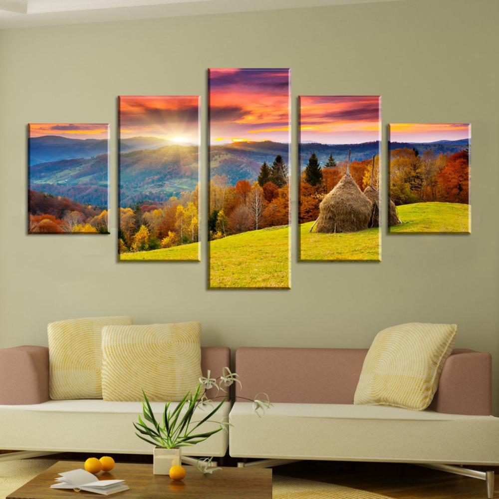5 Panel Moderne Printed Landschaft Sonnenaufgang wandmalerei Kunst ...
