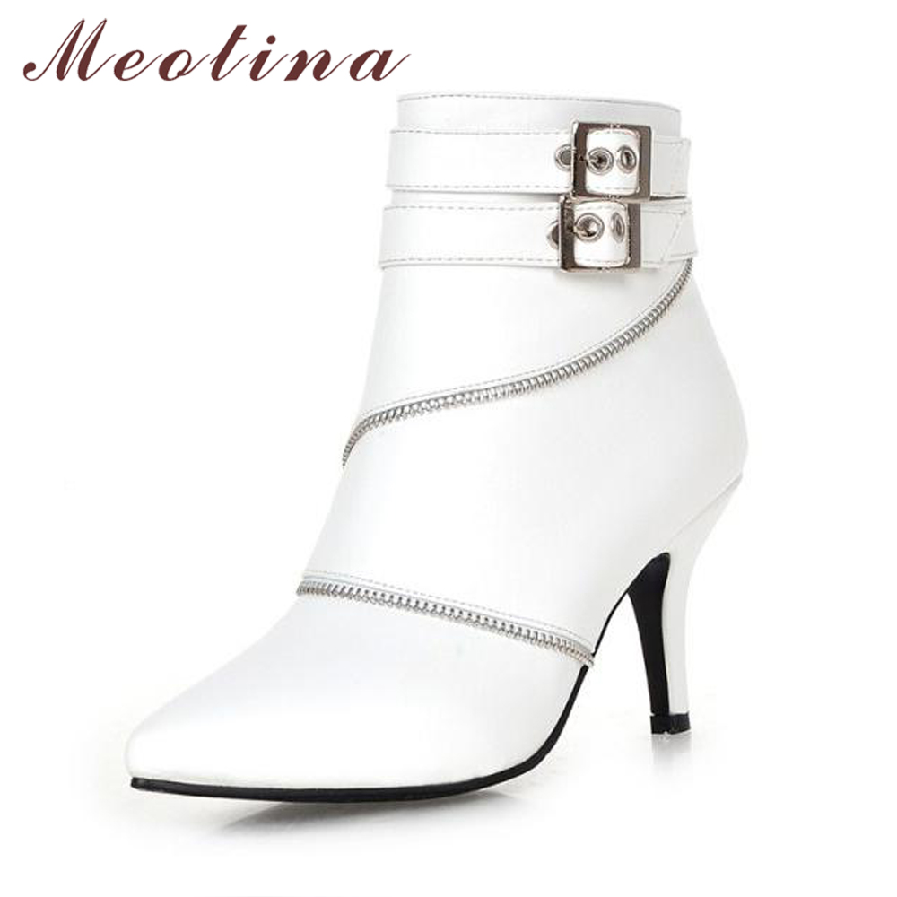 Meotina Women Ankle Boots Pointed Toe Buckle High Heel Boots Sexy Ladies Winter Boots Apricot White
