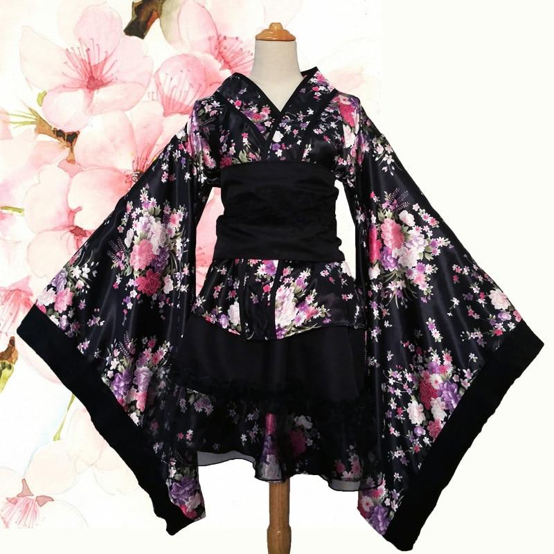 Women's Sexy Kimono Sakura Anime Costume Japanese Kimono Traditional Print Vintage Original Tradition Silk Yukata Dress S-XXXL