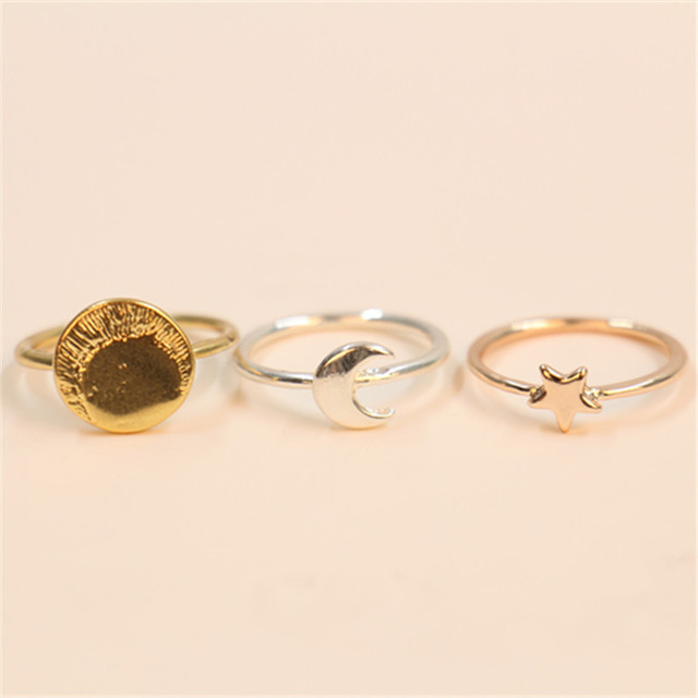 Fashion the sun moon stars ringsGold colorSilver PlatedRose Gold