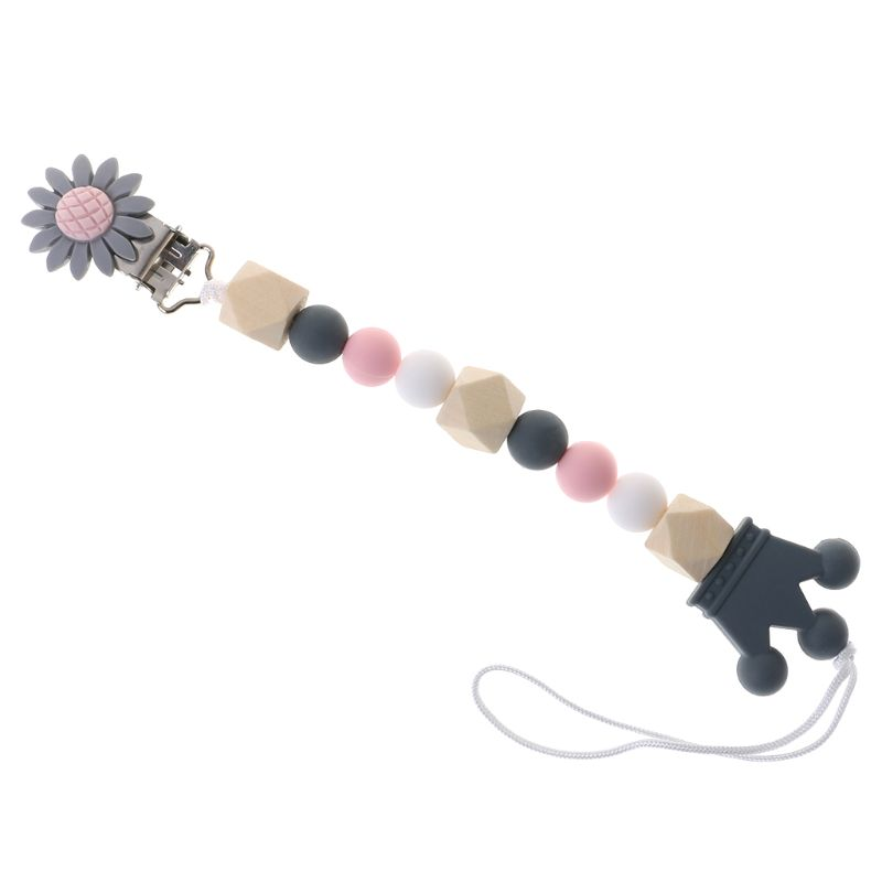 Pacifier Chain Wood Beads Crown Cartoon Flower Pendant Strap Nipple Teether Towel Support Pacifier Clips Gift For Infant