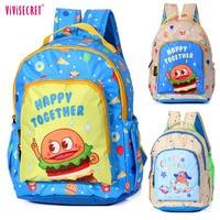 Brand Waterproof Cartoon Hamburger Chips Dog Printing Kids Backpacks Kindergarten School bag for Boys Girls Toddlers Child