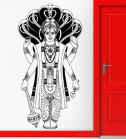 Cool Hinduism Indian Hidu God Religion Wall Decor Five Cobras Removable Vinyl Home Buddha Art Decor Interior Living Room SYY329
