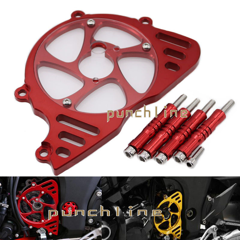 For KAWASAKI Z1000 2010-2016 2011 2012 2013 2014 2015 Motorcycle Aluminum Front Sprocket Chain Guard Cover Left Side Engine Red for yamaha r1 2009 2010 2011 2012 2013 2014 motorcycle accessories motorbike parts engine cover engine protective side protector