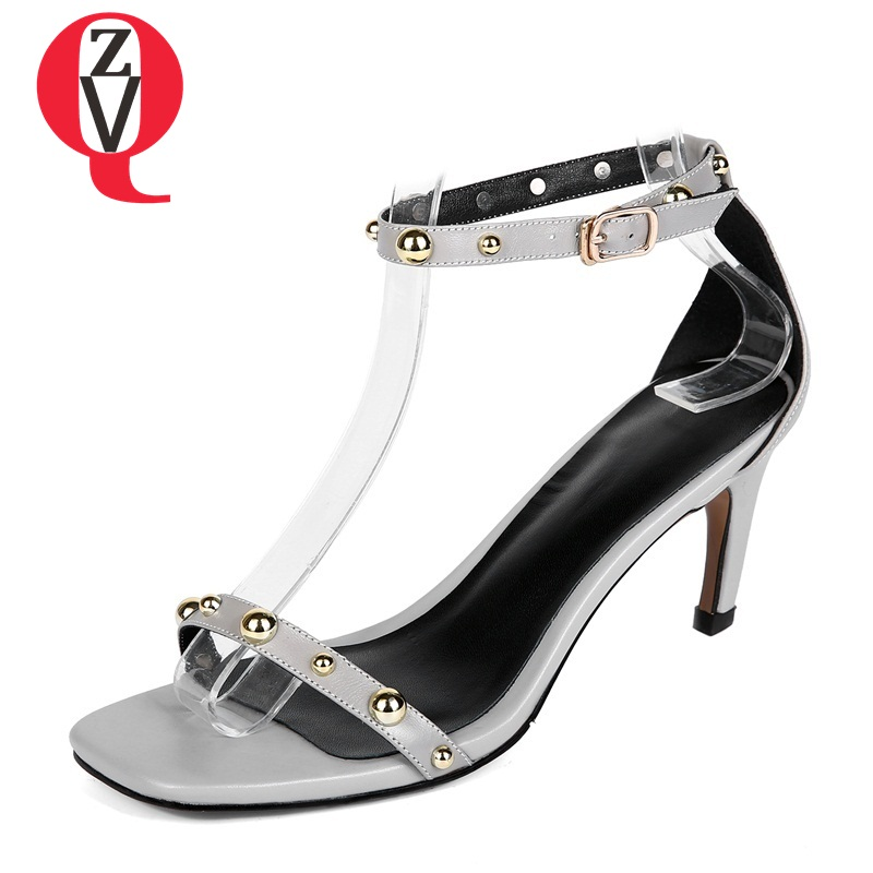 ZVQ women shoes new fashion genuine leather buckle strap heel height 6.5 cm rivet high thin heel sexy elegant lady sandals xiaying smile summer woman sandals women pumps buckle strap high thin heel fashion casual sexy bling rivet rubber women shoes