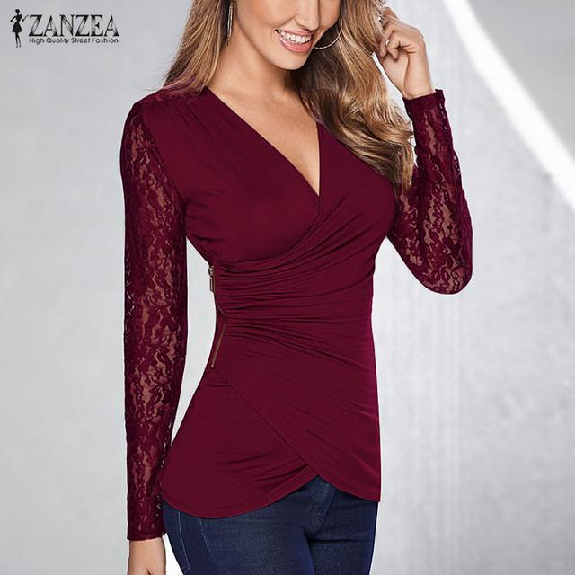 Zanzea mulheres blusas de renda 2016 sexy decote em v manga longa crochê blusas dobra irregular hem camisas casual magro tops