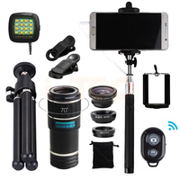 2017 15in1 12X Telephoto Zoom Lens Microscope Fisheye Macro Wide Angle lentes Mobile Tripod For Camera and Phone Lenses iPhone 7