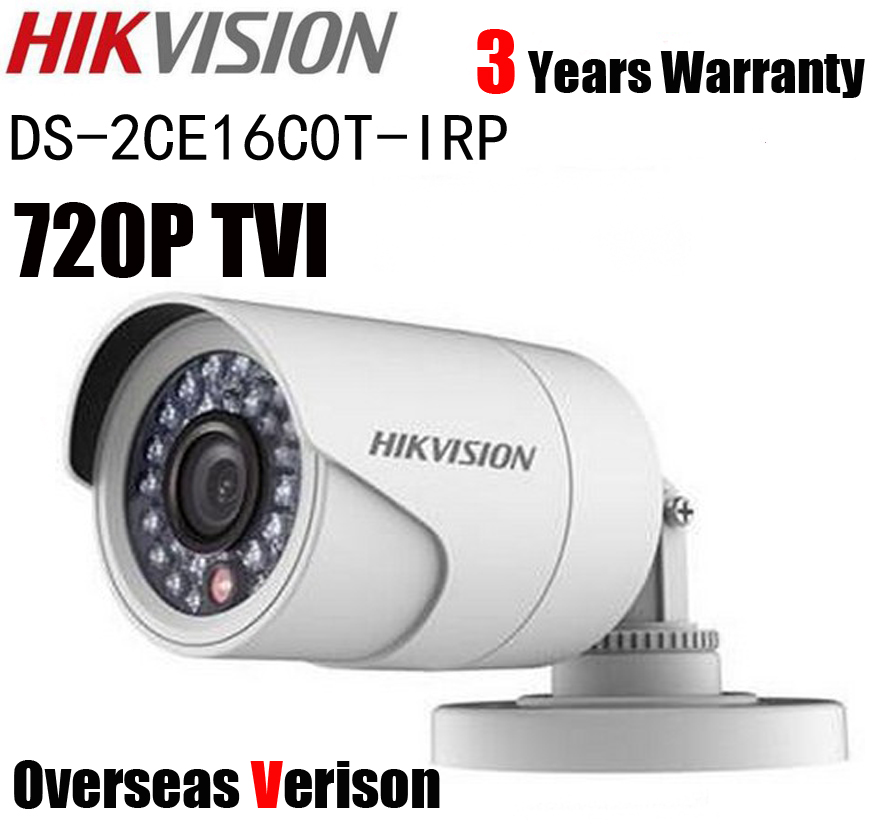 Hikvision DS-2CE16C0T-IRP HD 720P IR TVI Bullet Camera 1MP 20m IP66 Security TVI CCTV Camera hikvision original english version ds 2ce16d1t irp hd1080p ir bullet camera 2mp ip66 weatherproof up the coax cctv camera