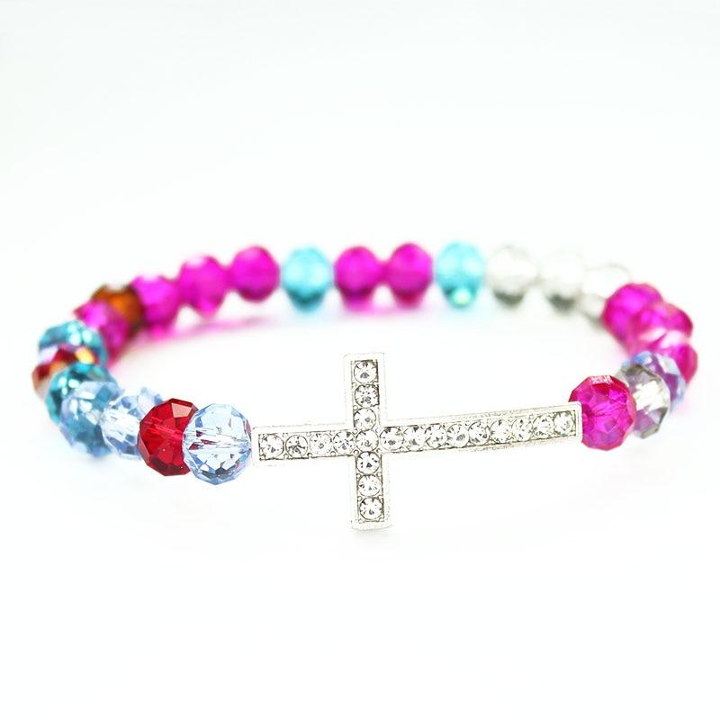 Fashion 2018 Crystal Cross Bracelet Jewelry Women Glass Crystal Beaded Bracelets Charm Bangle Religious Catholic Jewelry